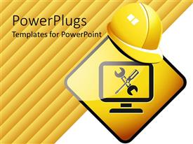 PowerPlugs: PowerPoint template with the construction signals and the helmet placed on it