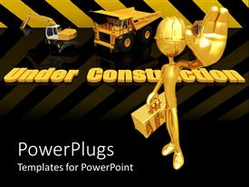 PowerPlugs: PowerPoint template with construction site with engineer carrying toolbox and heavy machinery's