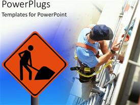 PowerPlugs: PowerPoint template with construction site with engineer working with paint and pipes