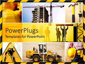 PowerPlugs: PowerPoint template with construction site with men in hardhats, cranes and trucks
