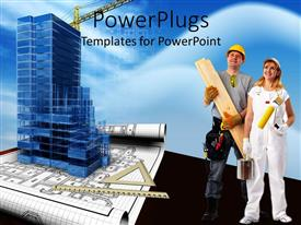 PowerPlugs: PowerPoint template with a construction team with the model of the building
