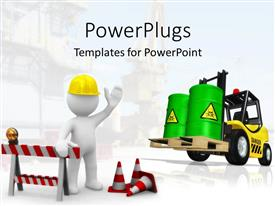 PowerPlugs: PowerPoint template with construction theme with 3D figure wearing yellow hardhat, constructing signs and cones, forklift with two large green toxic barrels
