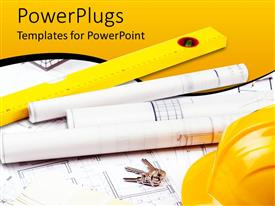PowerPlugs: PowerPoint template with construction theme with tools yellow hardhat and tun ruler, blueprint papers and plans and keys