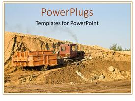 PowerPoint template displaying construction vehicle on a hill of dirt with clear blue sky