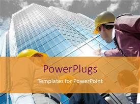 PowerPlugs: PowerPoint template with a construction worker alongside a skyscraper with clouds in the background