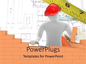 PowerPlugs: PowerPoint template with a construction worker building a wall with design in the background