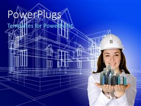 PowerPlugs: PowerPoint template with a construction worker with a design in the background