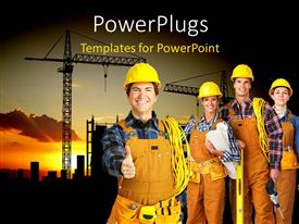 PowerPlugs: PowerPoint template with construction worker gestures for handshake with team and heavy equipments behind
