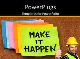 PowerPlugs: PowerPoint template with a construction worker who is happy