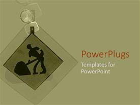 PowerPlugs: PowerPoint template with a construction worker with a light colored background