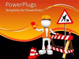PowerPlugs: PowerPoint template with a construction worker with orange background
