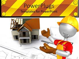 PowerPoint template displaying a construction worker pointing towards a house