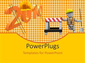 PowerPlugs: PowerPoint template with construction worker with protective helmet and ladder on gridlines