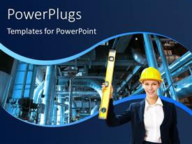 PowerPoint template displaying construction worker with protective helmet over industrial power plant