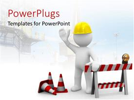 PowerPlugs: PowerPoint template with construction worker and red road signs with yellow hard hat on a white background