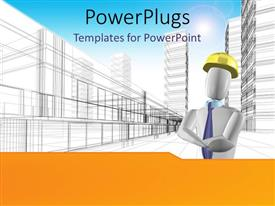 PowerPoint template displaying a construction worker with sky scrapers in the background