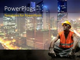 PowerPlugs: PowerPoint template with a construction worker with skyscrapers in the background