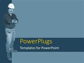 PowerPoint template displaying a construction worker standing with bluish background