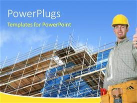 PowerPlugs: PowerPoint template with construction worker standing in front of an uncompleted building