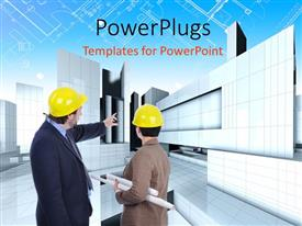 PowerPoint template displaying a construction worker telling the other one what to do with buildings in the background