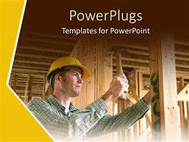 PowerPoint template displaying a construction worker working on a building
