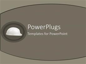 PowerPoint template displaying a construction worker's cap with grayish background