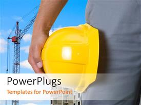 PowerPlugs: PowerPoint template with a construction workers hand holding a yellow construction cap