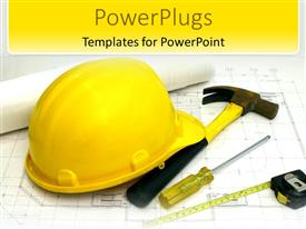 PowerPlugs: PowerPoint template with a construction worker's hat along with a hammer