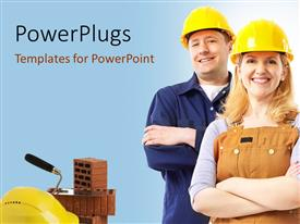 PowerPlugs: PowerPoint template with construction workers smiling with protective helmet and brick towel on brick