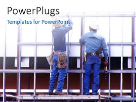 PowerPlugs: PowerPoint template with construction workers at work during a renovation exercise