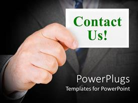 PowerPoint template displaying contact us theme with hand holding business card, suit background