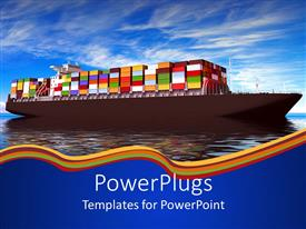 PowerPoint template displaying container ship on a calm sea with clear sky background