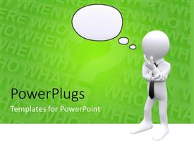 PowerPlugs: PowerPoint template with contemplative figure in black tie with thought bubble on background of green question words