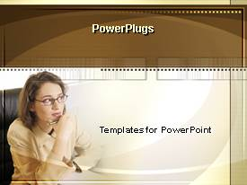 PowerPlugs: PowerPoint template with contemplative woman with pen in hand