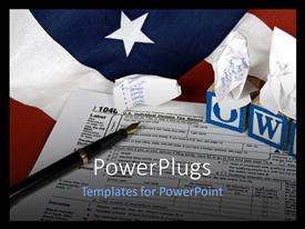 PowerPlugs: PowerPoint template with a contract with an American flag in background