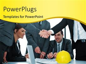 PowerPlugs: PowerPoint template with contract deal struck as two professionals shake hands over table