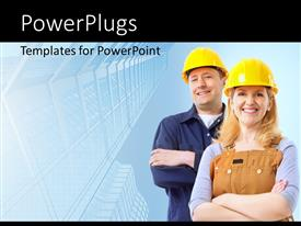 PowerPlugs: PowerPoint template with contractor people wearing helmets with building blueprint in background