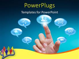 PowerPlugs: PowerPoint template with conversation bubbles with various icons and finger touching social network option