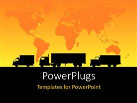 PowerPlugs: PowerPoint template with a convoy of vehicles on the road with map in the background