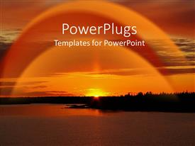 PowerPlugs: PowerPoint template with a cool evening sunset view of a river and the sun