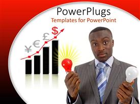 PowerPoint template displaying a corporate business man holding a red and white bulb