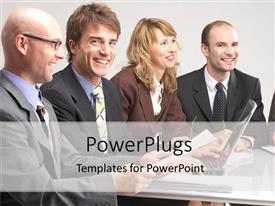 PowerPlugs: PowerPoint template with corporate executives in business meting with laptops and papers, management