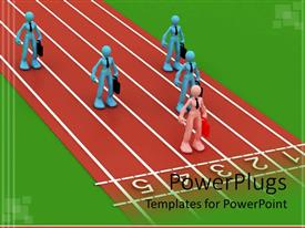 PowerPoint template displaying corporate race competition metaphor with business people on track