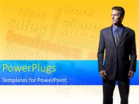 PowerPoint template displaying a corporately dressed business man on a yellow and blue background