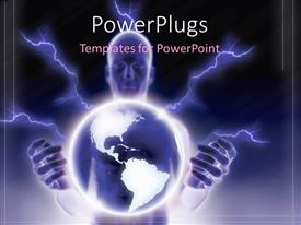 PowerPlugs: PowerPoint template with cosmic energy on dark background with man carrying earth globe in hand