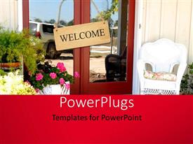 PowerPoint template displaying a cottage home with the entry and a welcome note
