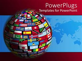 PowerPoint template displaying country flags cover the world for all nations to come together in relations of globalization on red background