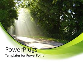 A PowerPoint with country road driving through big trees with sun rays