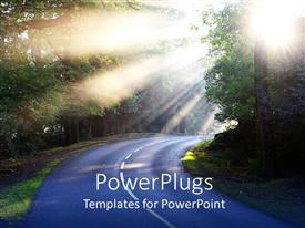 PowerPoint template displaying country road driving through forest with sun rays through trees