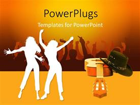 PowerPlugs: PowerPoint template with a countryman and a guitar with yellowish background